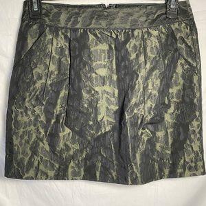 Olive green leopard print Gap mini skirt